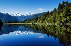 trees beside body of water under blue sky wallpaper Lake Matheson New Zealand Blue Sky Wallpaper, Mountain Wallpaper, Of Wallpaper, Nature Wallpaper, Wallpaper Ideas, New Zealand Mountains, Reflection Pictures, Full Hd Pictures, Forest Mountain