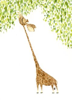 "Giraffe Print, Fine Art Giclee Print, Illustration, Children's Art, Nursery Print, 5"" x 7"""