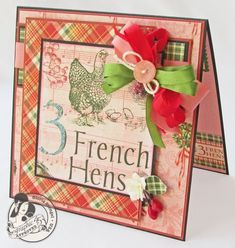 "Day 3: Gloria Stengel 12 Days of Christmas ""3 French Hens"" card! Love the touches of pink and green! #graphic45 #cards #12daysofgifttutorials"