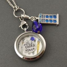 All of Time and Space Floating Locket Set - Spiffing Jewelry - Doctor Who, Tardis, Sonic Screwdriver