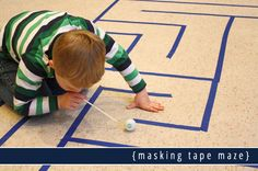 masking tape maze Could you use this DIY maze idea as a sideshow game at your next school fete? Race against the clock to win a prize. Diy Games, Party Games, Easy Crafts For Kids, Diy For Kids, Indoor Activities, Activities For Kids, Camping Games, Masking Tape, Games For Kids