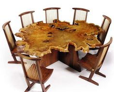 Conoid Chair, Free Edge Dining Table        George Nakashima