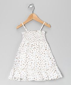 Take a look at this White Ditsy Flower Smocked Dress - Toddler & Girls by Jupon on #zulily today!  $11.99