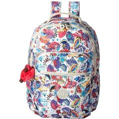 Kipling Seoul Backpack with Laptop Protection (Whimsy Floral Print)... ($119) ❤ liked on Polyvore featuring bags, backpacks, padded laptop backpack, monkey backpack, day pack backpack, water resistant laptop backpack and water resistant backpack