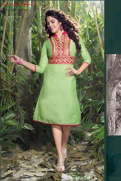 Parrot green color linen fabric designer kurti  http://www.vardhita.co.uk/product/parrot-green-color-linen-fabric-designer-kurti-34-16/