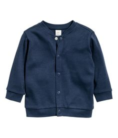 CONSCIOUS. Cardigan in soft, organic cotton jersey with snap fasteners at front and ribbing at neckline, cuffs, and hem.  | H&M Kids