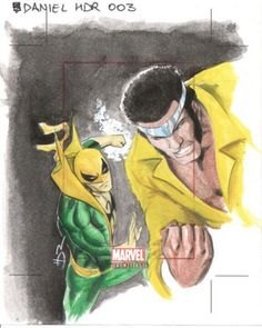 Sketch card : Heroes for Hire - Iron Fist  Powerman by Daniel HDR