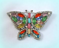 Vintage Capri Butterfly Pin Big Colorful by RoseCottageVintage, $27.99