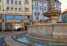 Bratislava Hlavné námestie Bratislava, Fountain, Mansions, House Styles, Outdoor Decor, Manor Houses, Villas, Water Fountains, Mansion