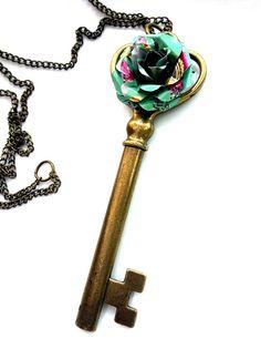 Large Key Pendant Necklace With Arizona Tea Flower Teen Girl Jewelry Tween Girl Gift Eco Fashion Jewelry - N307