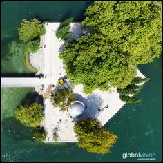 L'Île Rousseau - Island on the Rhône, Geneva Panorama 360, Aerial View, Milan, Sony, Golf Courses, River, Outdoor, Outdoors