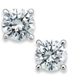 Certified Diamond Stud Earrings in White Gold ct.), Created for Macy's - White Gold 1 Carat Diamond Ring, Diamond Studs, Diamond Shapes, Diamond Earrings, Stud Earrings, Carat Gold, 18k Gold, Diamond Jewelry, Mens Gold Jewelry