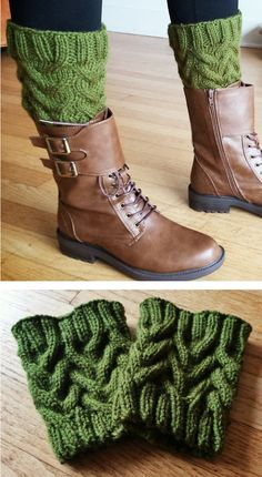 Free Knitting Pattern for Up on Top Boot Cuffs - These cuffs feature an easy to remember cable pattern and can be knit in the round or flat. Note: The cuff cables look different when you knit them because they aren't stretched out as they are on your legs. 164 – 219 yards (150 – 200 m) of yarn. Designed by bruggadung!. Pictured projects by kmac108