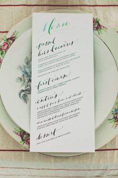Hand-drawn wedding menu