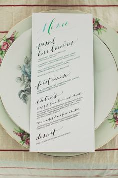 Hand-drawn wedding menu