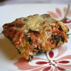 No-Noodle Zucchini Lasagna...omitted the mushrooms, used fresh spinach. Added Italian seasoning & salt to the sauce, and appx 1 cup vegetable stock to sauce to thin it out.
