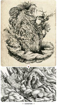 Inkstinctive 2 by DZO Olivier #illustration #pen