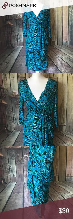 """Laundry by Shelli Segal Stretch Wiggle Dress Sz 10 EUC! Fabulous stretch dress by Laundry, Shelli Segal! Plunging neckline,  shirred on one side, will surely hug your curves! Size: 10 Bust: 16.5"""" unstretched and up to 19"""" across stretched Waist: 15"""" across unstretched 17.5"""" across fully stretched Hips: 17"""" across unstretched and 20"""" fully stretched Laundry By Shelli Segal Dresses"""