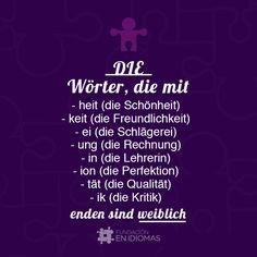 Words ending with:  -heit, -keit, -ie, -ung, -in, -ion, -tät,  -ik are feminine in German.   Las palabras que terminan en  -heit, -keit, -ie, -ung, -in, -ion, -tät,  -ik son femeninas en alemán.  #German #Deutsch #igersvenezuela
