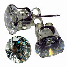 * Penny Deals * - Sterling .925 Silver EARRING with Cubic Zirconia / Clear White CZ stone 5.00 MM , 0.50 CT Diamond Weight . Total 1.00 CT CZ Earring . Also FREE FREE 6.50 MM / 1.0 CT Diamond Weight Round shape Cubic Zirconia (TOTAL item is 1 pr Silver Earring   1 pc CZ Stone) >>> Check this awesome product by going to the link at the image.