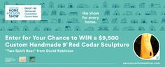 """Enter for your chance to WIN a $9,500 custom handmade 9' red cedar sculpture """"Two Spirit Bear"""" from David Robinson Art/Robinson Studio Gallery!"""