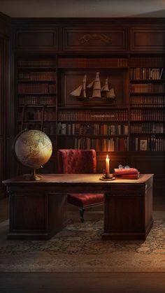 A Gentleman's Study – Home Office Design Vintage Home Library Design, Home Office Design, Home Office Decor, House Design, Library Room, Dream Library, Vintage Office, Vintage Library, Vintage Man