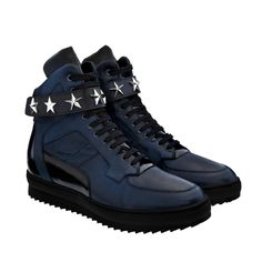 Elevator Sneakers - Upper in blue navy full grain leather and shiny blue calfskin, insole in genuine leather, lightweight high quality rubber outsole anti-slip. Hand Made in Italy.