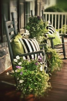 Front Porch Decor - love the green & the flower container combinations! Description from pinterest.com. I searched for this on bing.com/images