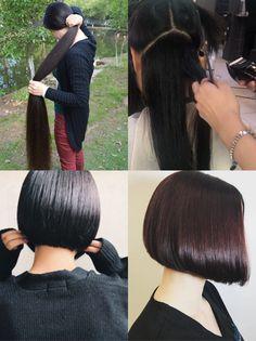 Short Hairstyle, Bob Hairstyles, Haircuts, Long Hair Cuts, Long Hair Styles, Shaved Nape, Amazing Transformations, Rapunzel, Bobs