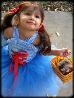 Dorothy Costume corset and tutu Set with Bows and Arm Puffs sizes 12 months 18 2t 3t 4t 5t 6. $84.99, via Etsy.