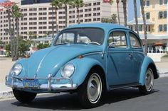 """1958 Volkswagen Beetle http://ow.ly/d38Nl Restored by VW experts """"Car Custom"""" in 1985 (with receipts) turquoise w grey interior #classic"""