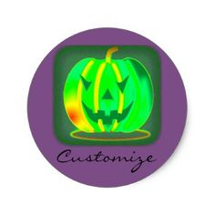 Green Jack o'lantern Halloween Thunder_Cove Classic Round Sticker - craft supplies diy custom design supply special