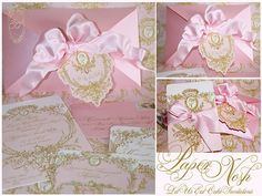 Marie Antoinette Cameo Pink and Gold Silhouette Invitations, crystal glittered die cut tags, rsvp and escort cards.