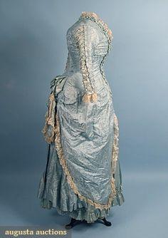 Silk Damask Bustle Dress, 1870s, Augusta Auctions, April 2006 Vintage Clothing & Textile Auction, Lot 785