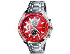 Fashion Round Red Dial Analog Waterproof Sports Wrist Watch with Tungsten Steel Strap $17.2 #EOZY