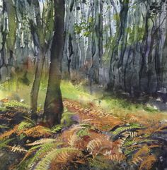 Autumn woodland - by Liz James Watercolour and pastel