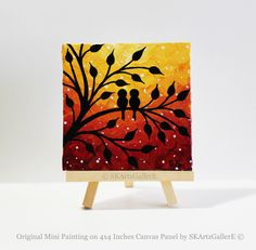 Love birds Painting Mini Canvas art Sunset by SKArtzGallerE