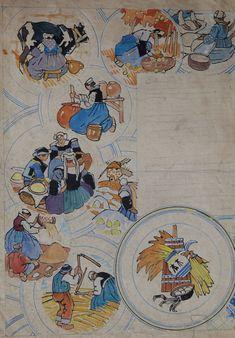 """Mathurin MEHEUT (1882-1958) """"La galette"""" aq non signée exceptionnelle planche préparatoire du service de la galette pour la manufacture Henriot 41.5x30"""