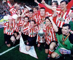 Peter Reid's unfancied Sunderland side clinch the First Division title, winning nine games in a row near the end of the season. Sunderland Football, Sunderland Afc, North East England, Historical Pictures, Durham, Brewery, Division, Legends, Soccer