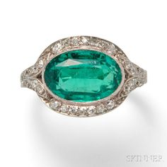 Art Deco Platinum, Emerald, and Diamond Ring. | Auction 2883B | Lot 559 | Sold for $30,750