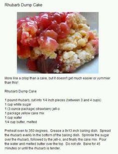 Desserts: Rhubarb Dump Cake. Use Low carb cake mix,sugar free jello,sweetener. no sugar. Decarb where needed