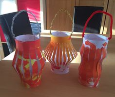 Chinese Lantern for Chinese New Year. (Get the children to paint/ decorate a plain piece of card and have an adult do the cutting to create these lovely lanterns)