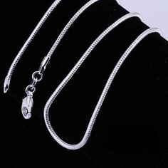 "18"" Simple Unisex Mens Womens Silver Plated Snake Chain Pendant Necklace Clasp"