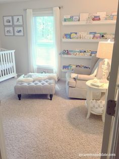 Woodland Nursery - neutral and natural colors. Bookshelf made of gutters.