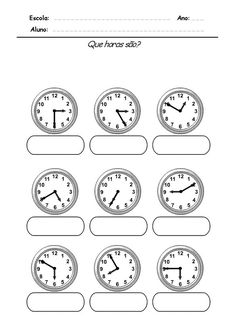 Free preschool printable and online activities, crafts, coloring pages for toddlers, preschoolers, kids activities and daycare. Teaching Time, Help Teaching, Preschool Printables, Preschool Activities, Paper Clock, Clock Games, 2nd Grade Math Worksheets, Spanish Worksheets, Spanish Lesson Plans
