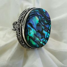 Abalone Shell Ring Stamped 925 Solid Sterling Silver Abalone Shell Antique Ring (Size 7) Jewelry Rings