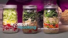 """Mason Jar Salad Allrecipes.com  --  This is a great idea, although I'm not sure how you can just """"shake it"""".  I'm thinking you'll have to pour it in a bowl to mix it.  Otherwise, very cool idea!"""
