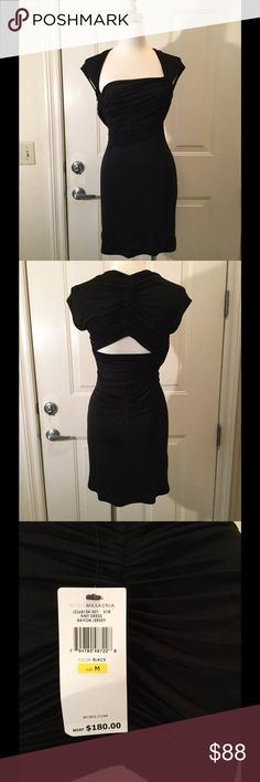 NWT BCBG Max Azria Black Rayon Knit Jersey Dress NWT BCBG Max Azria Black Rayon Knit Jersey Dress, Size Medium, Retail $180  Sexy LBD with ruching at waist holds you in and accentuates your waist.   Pet and smoke-free home. BCBGMaxAzria Dresses Mini
