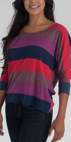 Splendid Color Block Rugby Draped Tunic in Cabaret - $88.00