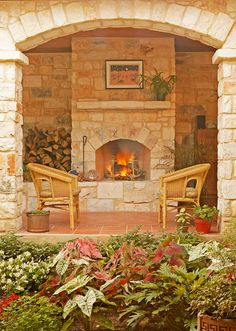Outdoor Fireplace outdoor courtyard in Dripping Springs Austin Texas
